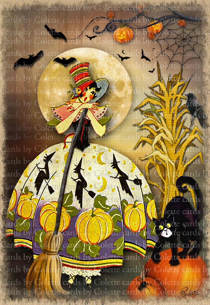 Halloween Witch and Cat Digital Collage Greeting Card6027