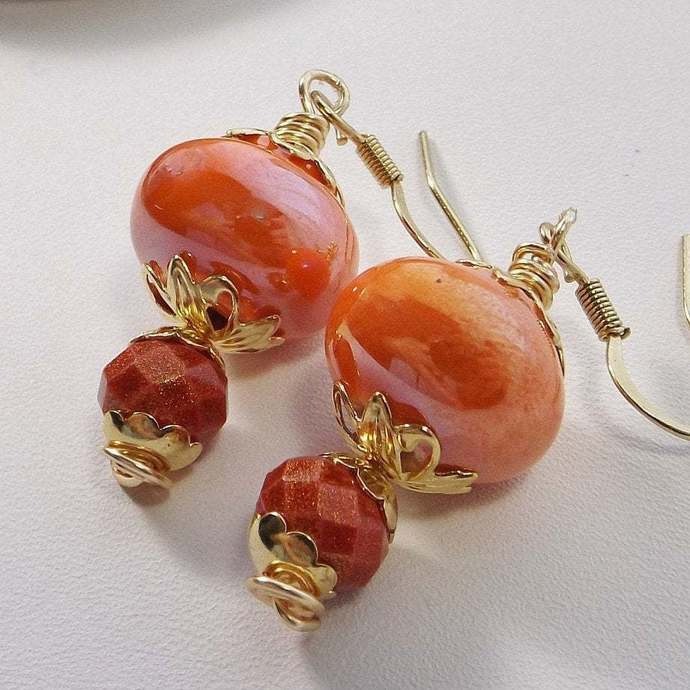Orange and Red Drop Earrings for Summer and Fall using Glass and Ceramic Beads