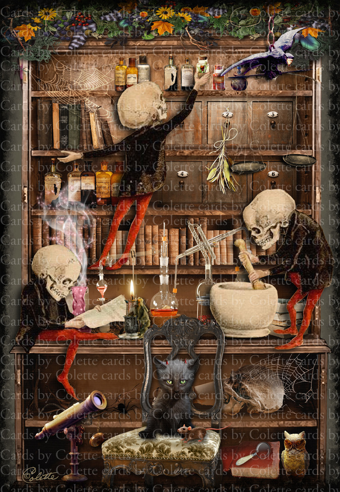 Halloween Skeleton Chemists Digital Collage Greeting Card356