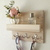 Key Letter Holder Entryway Organizer Wall Shelf with Hooks Rustic Style Wood