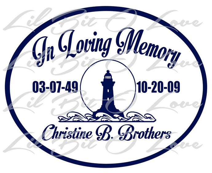 In Loving Memory Lighthouse and waves Vinyl Decal Ocean Sticker Sea Name Dates