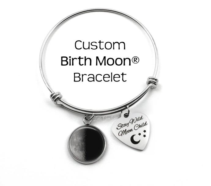 Custom Birth Moon Stainless Steel Bangle Charm Bracelet - Stay Wild Moon Child