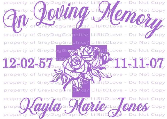 In Loving Memory Cross and Roses Christian Vinyl Decal Name Dates Custom
