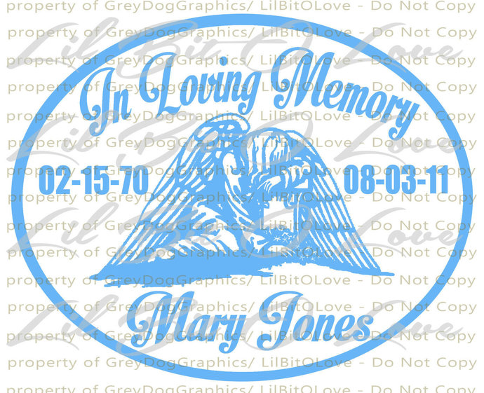 In Loving Memory Weeping Angel Christian Vinyl Decal Sticker Name Dates Custom
