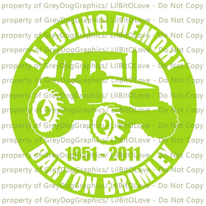 In Memory Farmer Tractor Vinyl Decal Sticker - Personalize with Name and Years