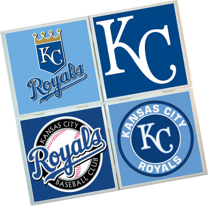 KC Royals Coasters - set of 4 tile coasters - MLB, baseball, league, ball, logo,
