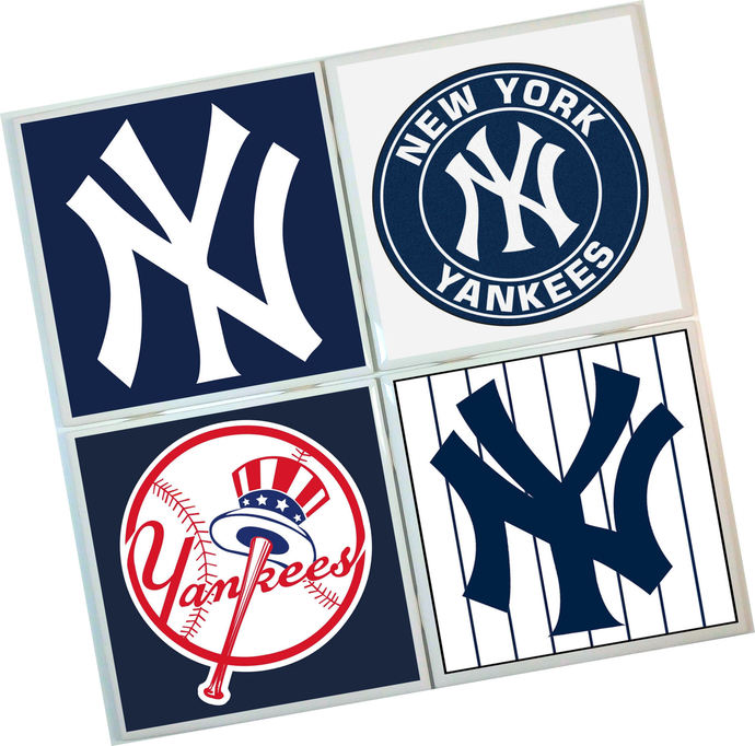 New York Yankees Coasters - set of 4 tile coasters - MLB, baseball, league,