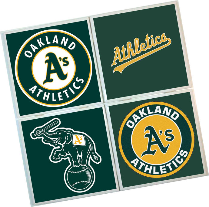 Oakland Athletics Coasters - set of 4 tile coasters - MLB, baseball, league,