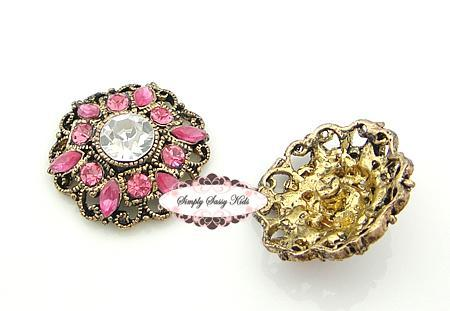 RD94 Pink on Antique Gold Metal Vintage Inspired 1 inch Rhinestone Embellishment