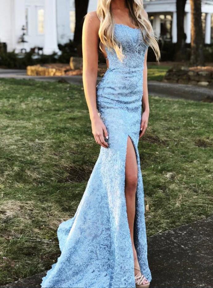 Charming Blue Split Slit Mermaid Evening Party Dress,  Appliques Long Prom
