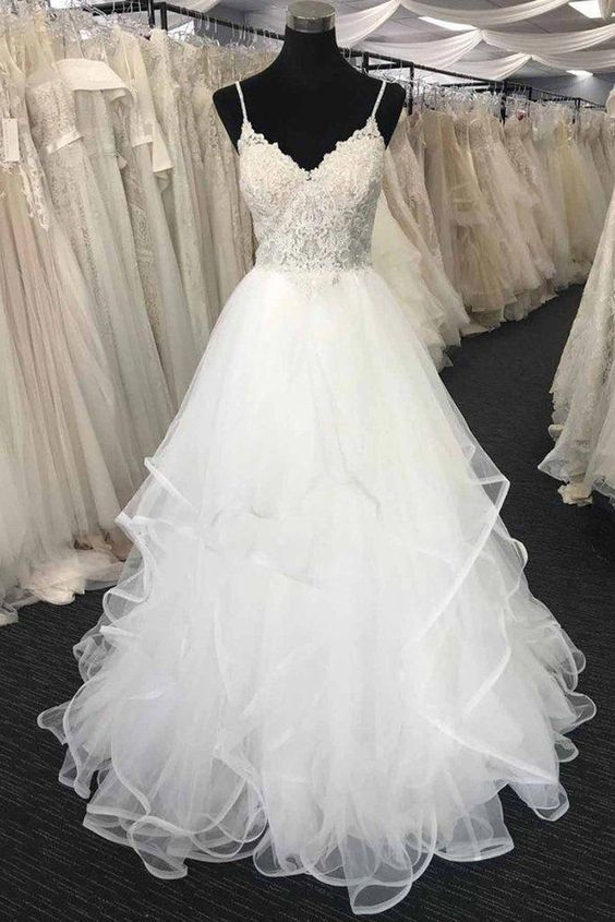 Charming Spaghetti Straps Tulle Tiered White Wedding Dress Bridal Gowns