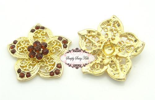 RD95 Amber Stones on Gold Metal Vintage Inspired Rhinestone Embellishment