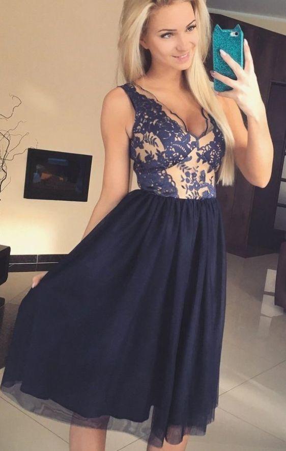 A-Line Homecoming Dresses,V-Neck Homecoming Dress,Knee Length Homecoming Dress
