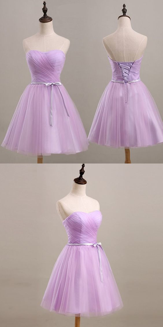 Youthful Lavender homecoming Dress, Sweetheart Short Prom Party Dress, Ruched