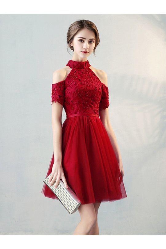 High Quality A Line High Neck Short Sleeve Knee Length Homecoming Dress