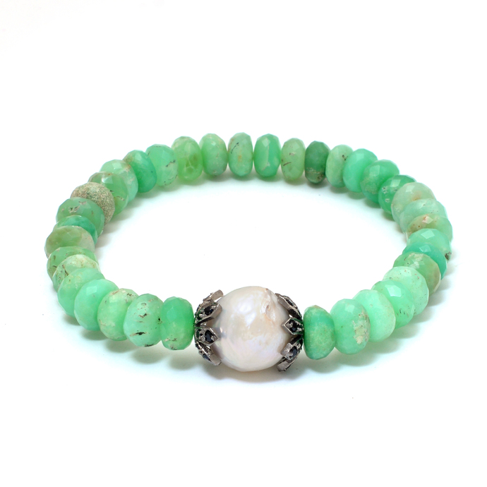 Natural Chrysoprase baroque pearl Black Spinel Stretchable Silver Unisex