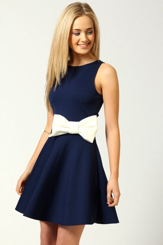 High Quality Navy Blue Mini Dress Round Collar Cocktail Clothing Satin
