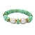 Faceted Chrysoprase baroque pearl Stretchable Silver Unisex Adjustable Bracelet