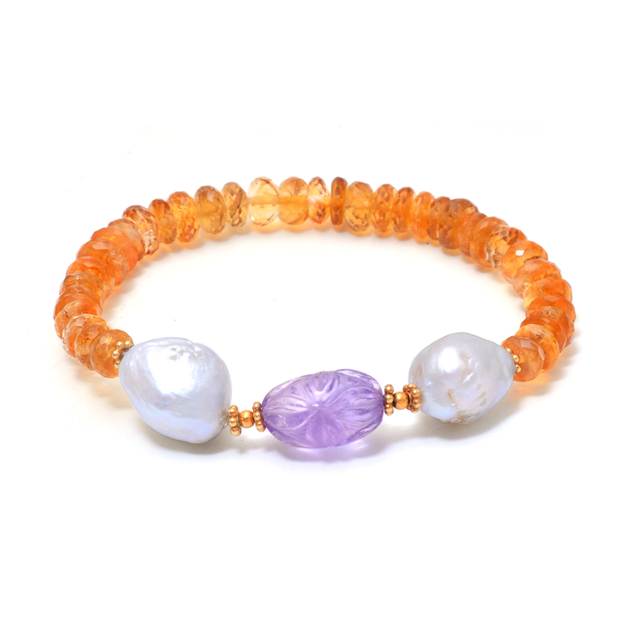 Faceted Citrine Baroque pearl Amethyst Beaded Stretchable Unisex Adjustable