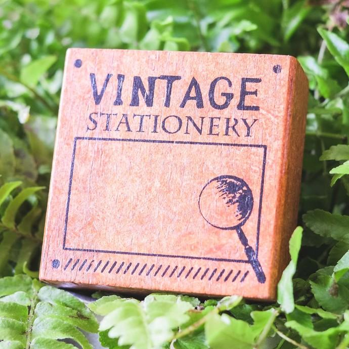 Fun & Joy wooden stamp in a cardboard tray - Vintage Stationery - 4.8 x 4.8 cm