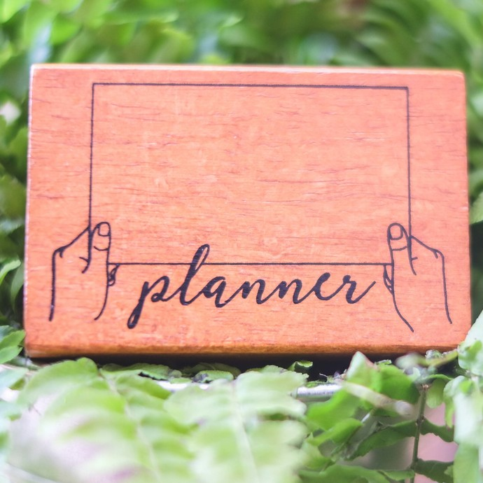 Fun & Joy wooden stamp in a cardboard tray - Planner - 7.4 x 4.8 cm