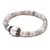 Faceted Silvernite Baroque Pearl Stretchable Silver Unisex Adjustable Bracelet