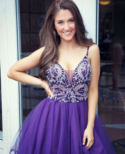 Sexy V neck Purple Tulle Beaded Short Homecoming Dress
