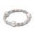Silvernite Baroque Pearl Stretchable Beaded Silver Unisex Adjustable Bracelet