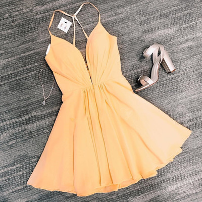Cute Mini Yellow Short Party Dress, Simple Cocktail Dress