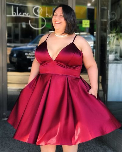 Sexy Straps Plus Size Red Short Homecoming Dress with Lace up Back