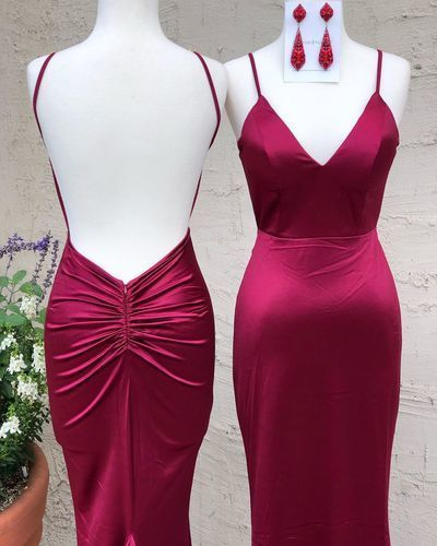 Charming V neck Backless Red Mermaid Evening Dress, Sexy Long Prom Dresses