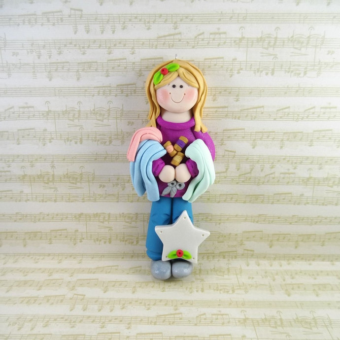 Personalized Quilter Christmas Ornament - Handmade Polymer Clay Sewing Ornament