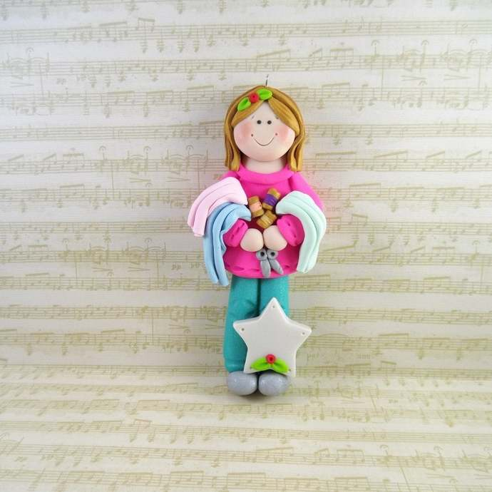 Handmade Polymer Clay Sewing Ornament - Personalized Quilter Christmas Ornament