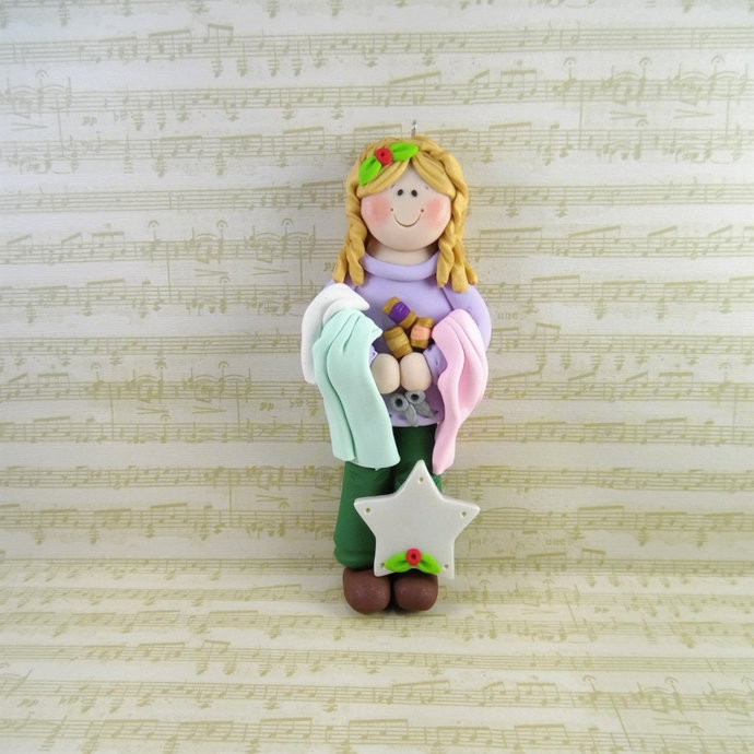 Handmade Polymer Clay Sewing Ornament - Personalized Seamstress Christmas