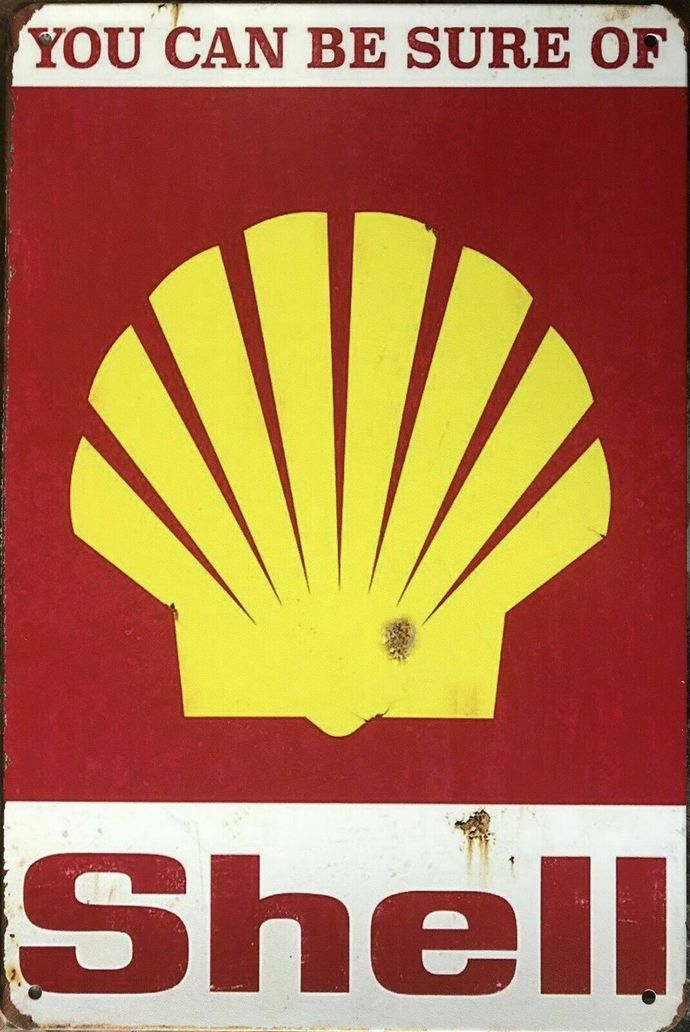 SHELL Rustic Look Vintage Tin Metal Sign Man Cave, Shed-Garage & Bar