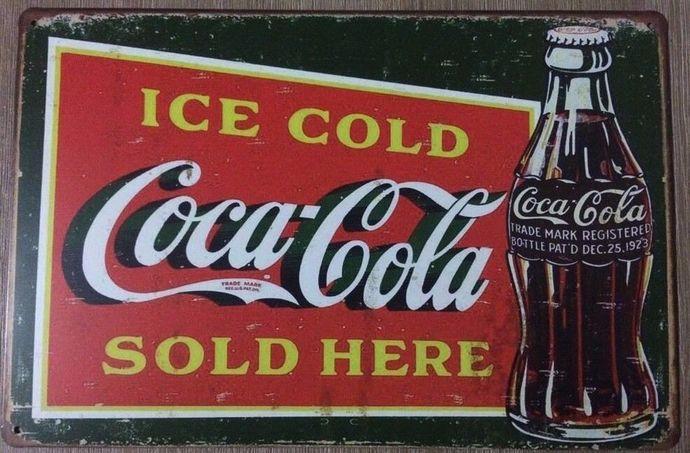 COKE Retro Vintage Metal Tin Sign Rustic Look . MAN CAVE Coca Cola Signs