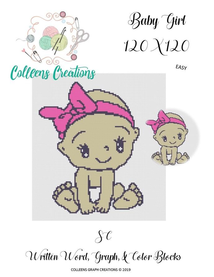 Baby Girl Crochet Written Word, Color Blocks, & Graph Design