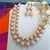 UPCYCLED statement two strand texture faux glass pearl Necklace with matching