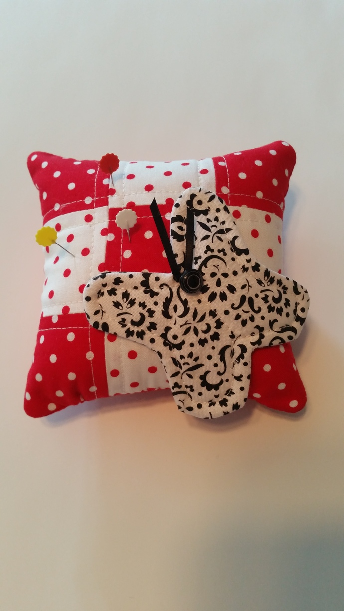 Black & White Butterfly Pin Cushion on a Red Background