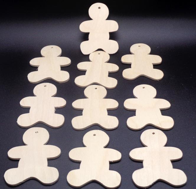 Pkg of 10 Gingerbread Men Wood Christmas Ornament  CO-43 -18 Unfinished