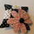 Pink Calico Flower on Black & White Polka-dot Pin Cushion