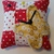 Yellow Calico Butterfly Pin Cushion on Red & White Polka-dots