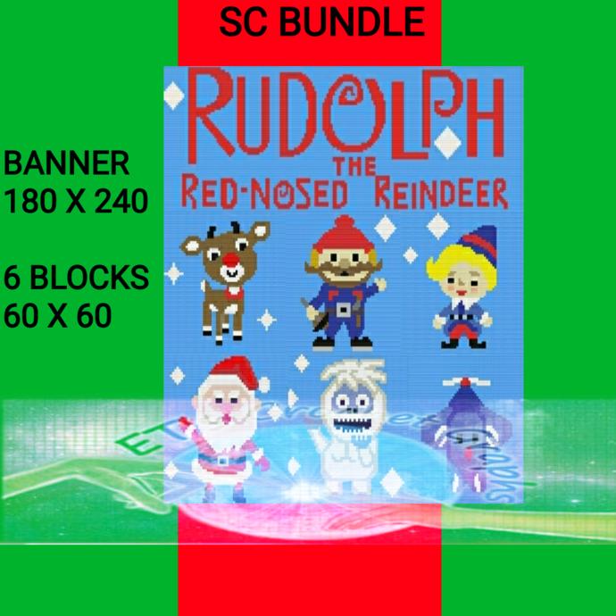 Small Rudolph BUNDLE - Lobby Crochet Along Bundle 7 Patterns SC includes Graphs