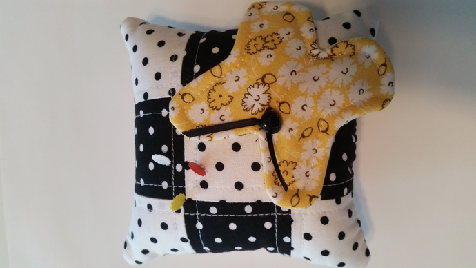 Yellow Butterfly Pin Cushion on Black & White Polka-dots