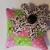 Black & White flower Pin Cushion on Pink & Green Polka-dots