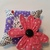 Pink Fabric Flower Pin Cushion on Purple & White and Black & White