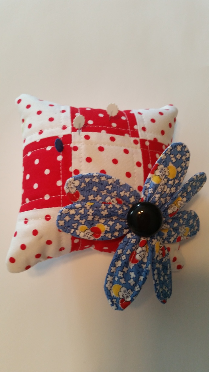 Blue Flowered Fabric Pin Cushion on Red & White Polka-dots