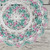 "Crocheted White Aqua Pink Table Topper Doily - 10 1/2"""