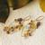 Sterling Silver 18K Gold Multi Gemstone Earrings