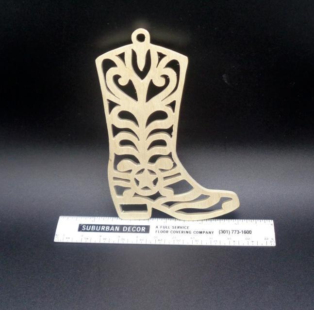 Boot  Ornament Unfinished Wood Stk No CO-32